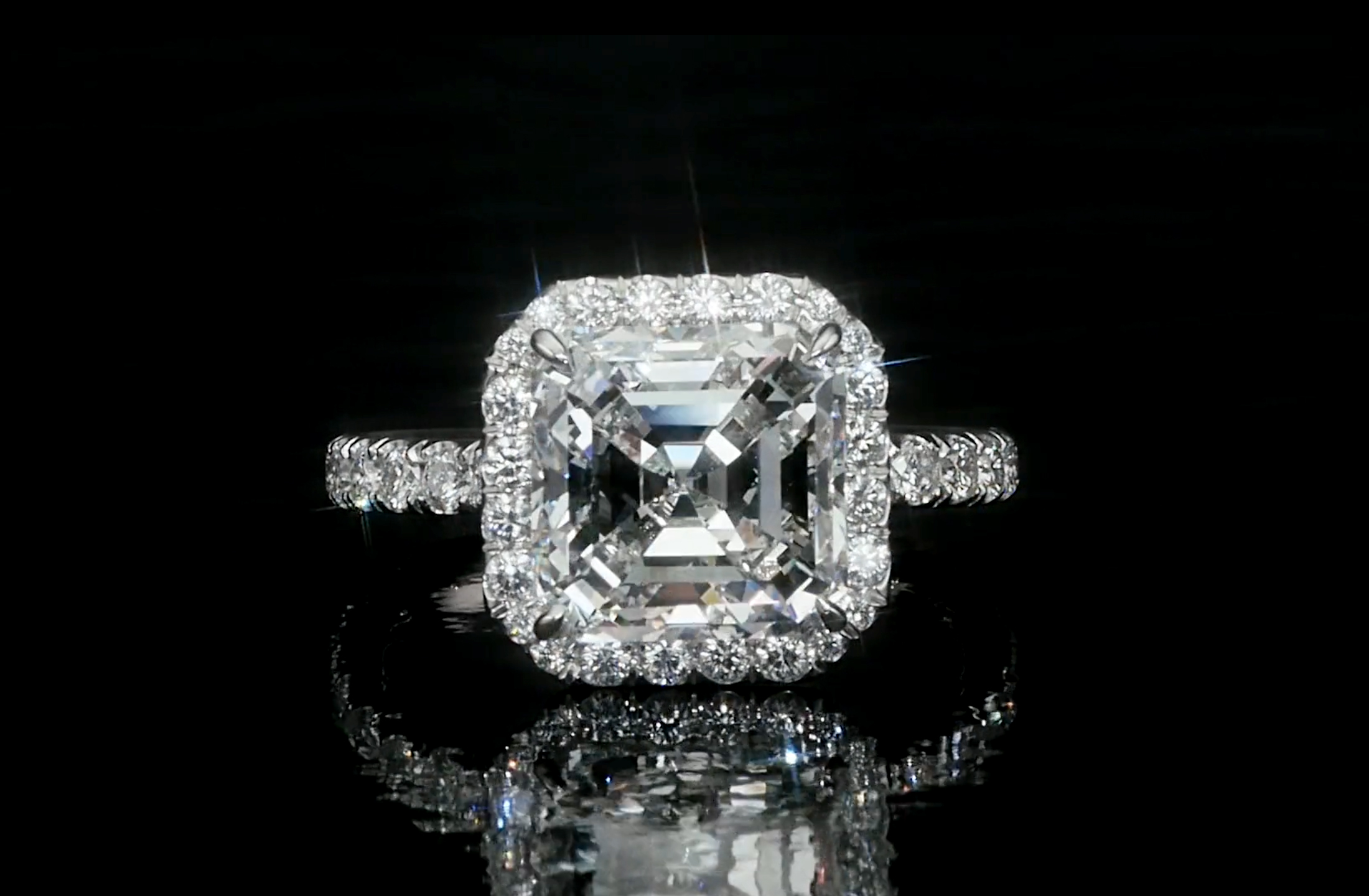 split ring engagement setting cut asscher si h platinum asher in i shank diamond