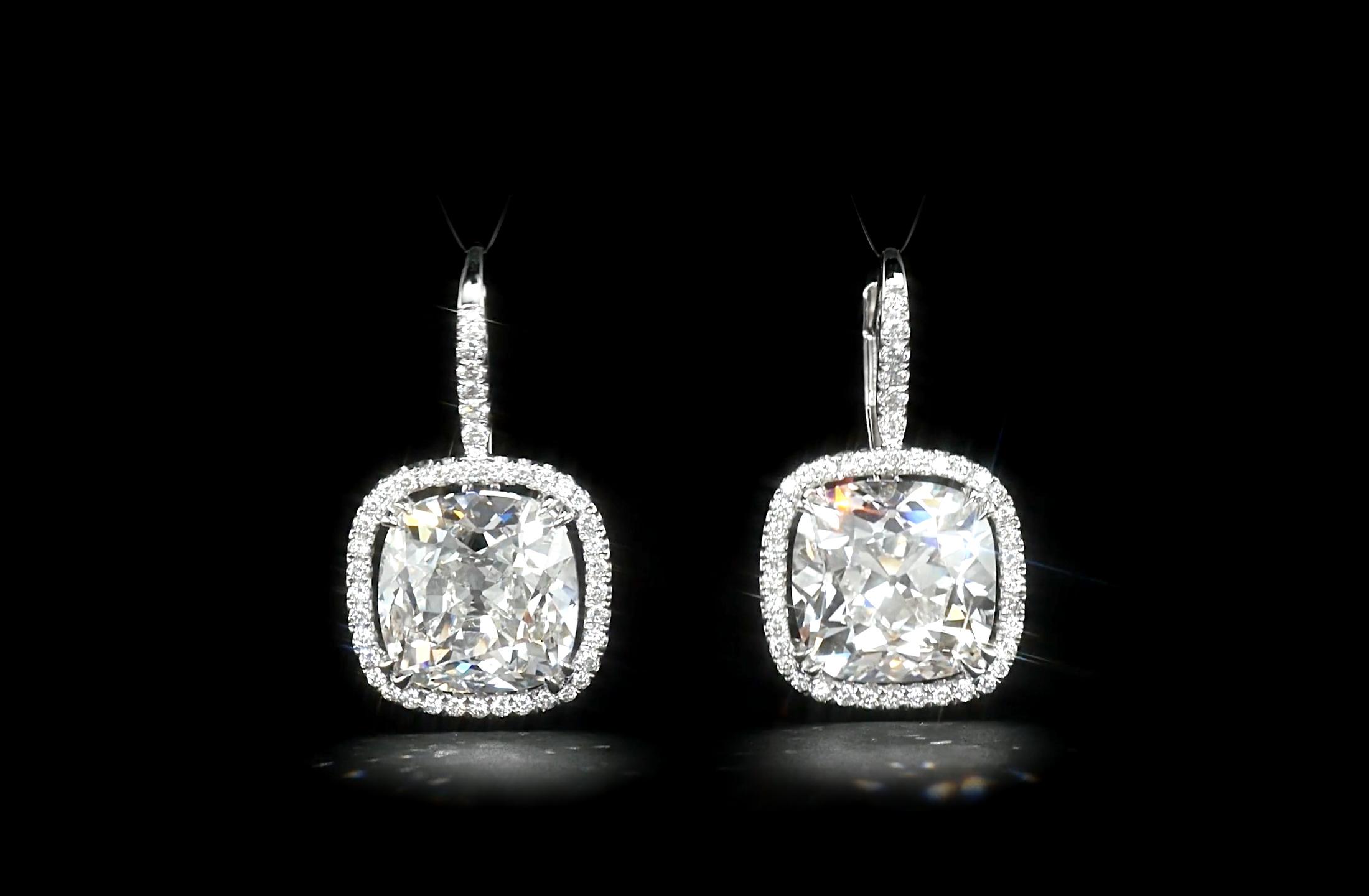 Cushion Cut Drop Earrings In Halo Frames Diamond Runway The Finest Diamonds World